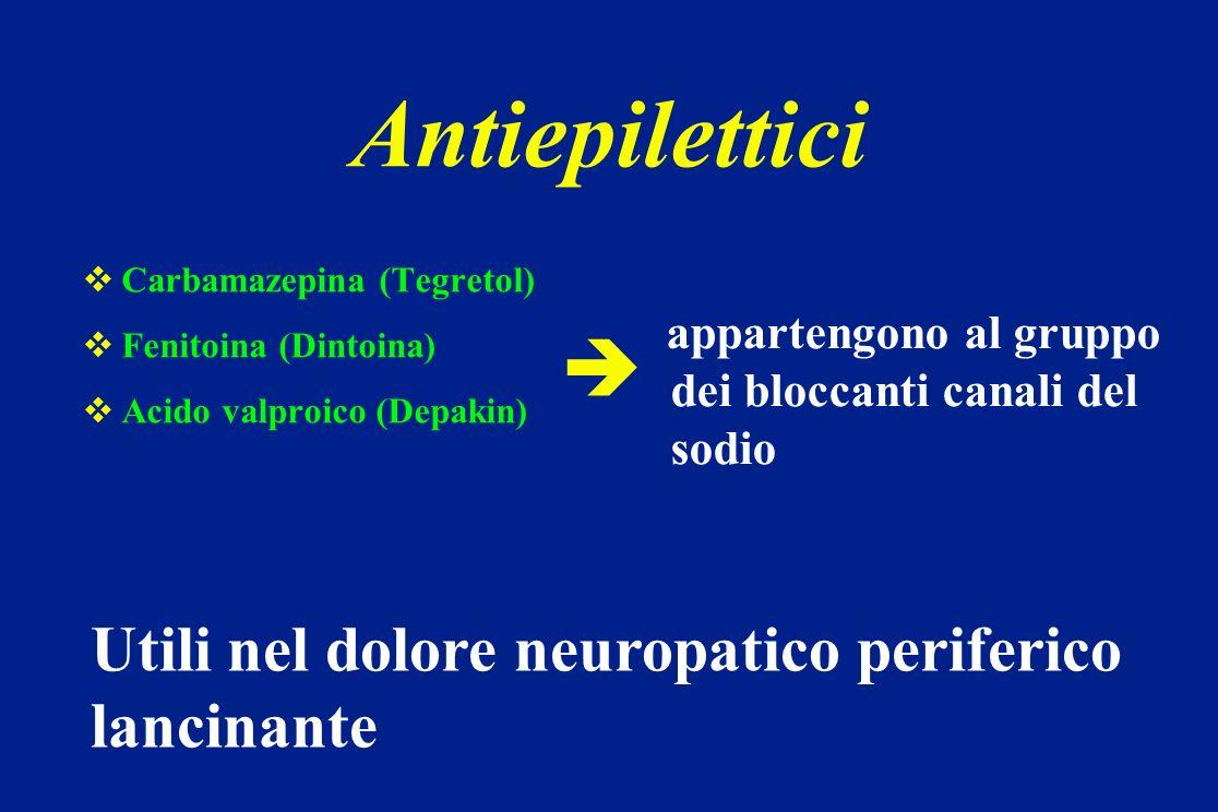 Antiepilettici  Utili nel dolore neuropatico periferico lancinante