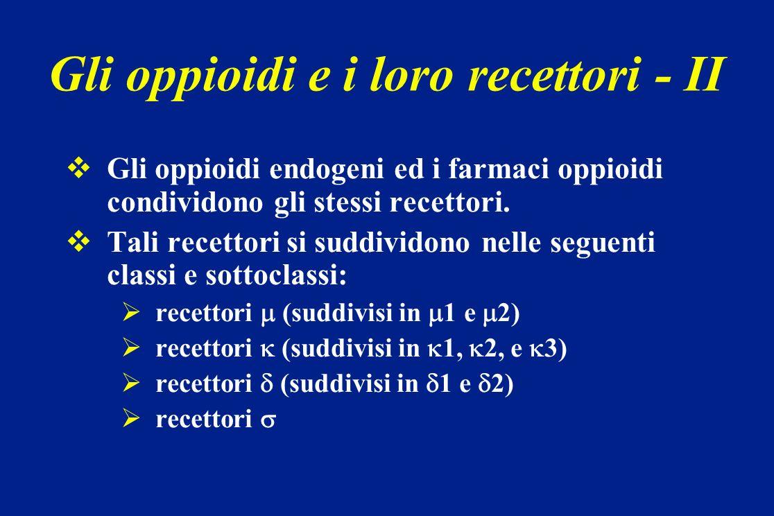 Gli oppioidi e i loro recettori - II