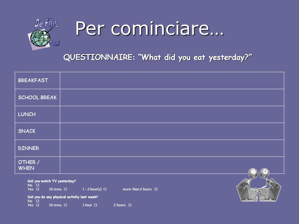 QUESTIONNAIRE: What did you eat yesterday