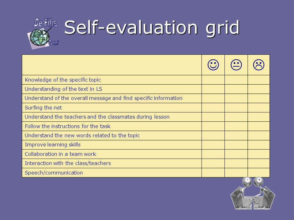 Self-evaluation grid    Knowledge of the specific topic
