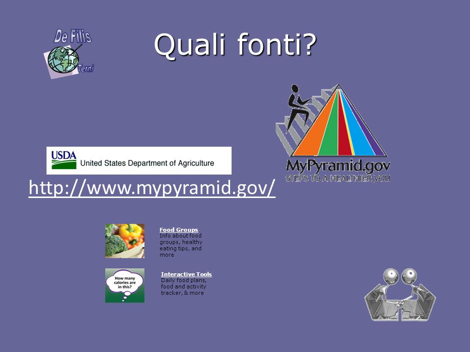 Quali fonti http://www.mypyramid.gov/