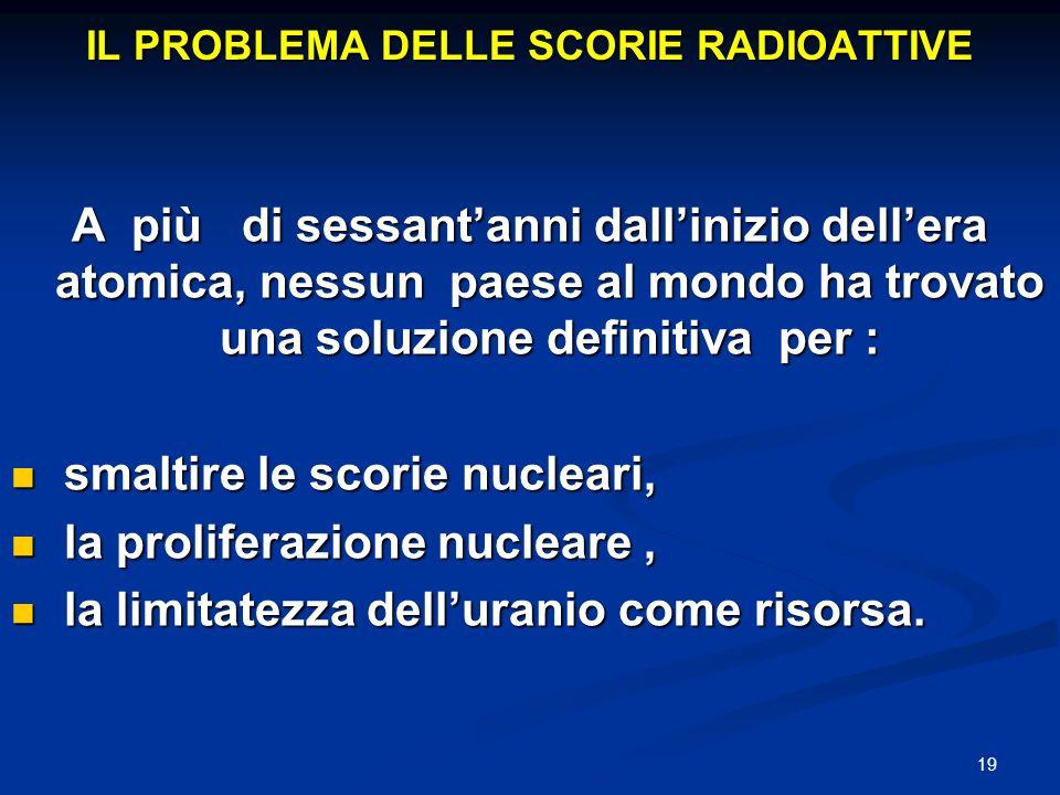 IL PROBLEMA DELLE SCORIE RADIOATTIVE