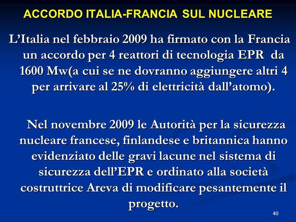 ACCORDO ITALIA-FRANCIA SUL NUCLEARE