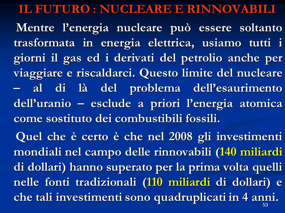 IL FUTURO : NUCLEARE E RINNOVABILI