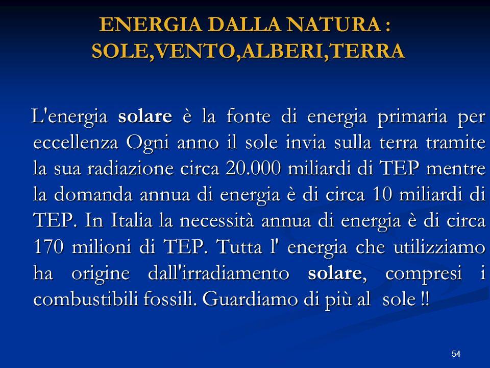 ENERGIA DALLA NATURA : SOLE,VENTO,ALBERI,TERRA