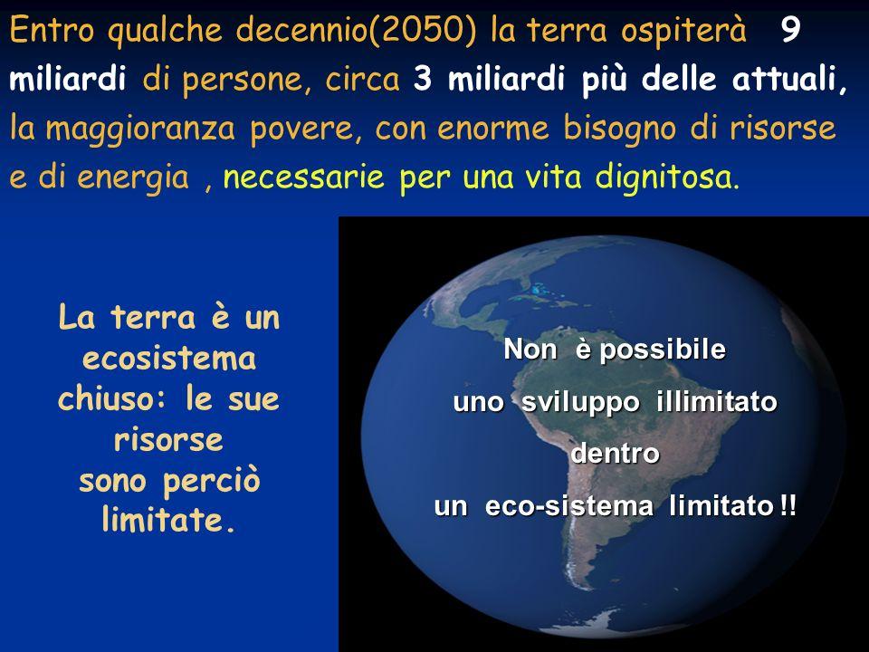 La terra è un ecosistema chiuso: le sue risorse sono perciò limitate.