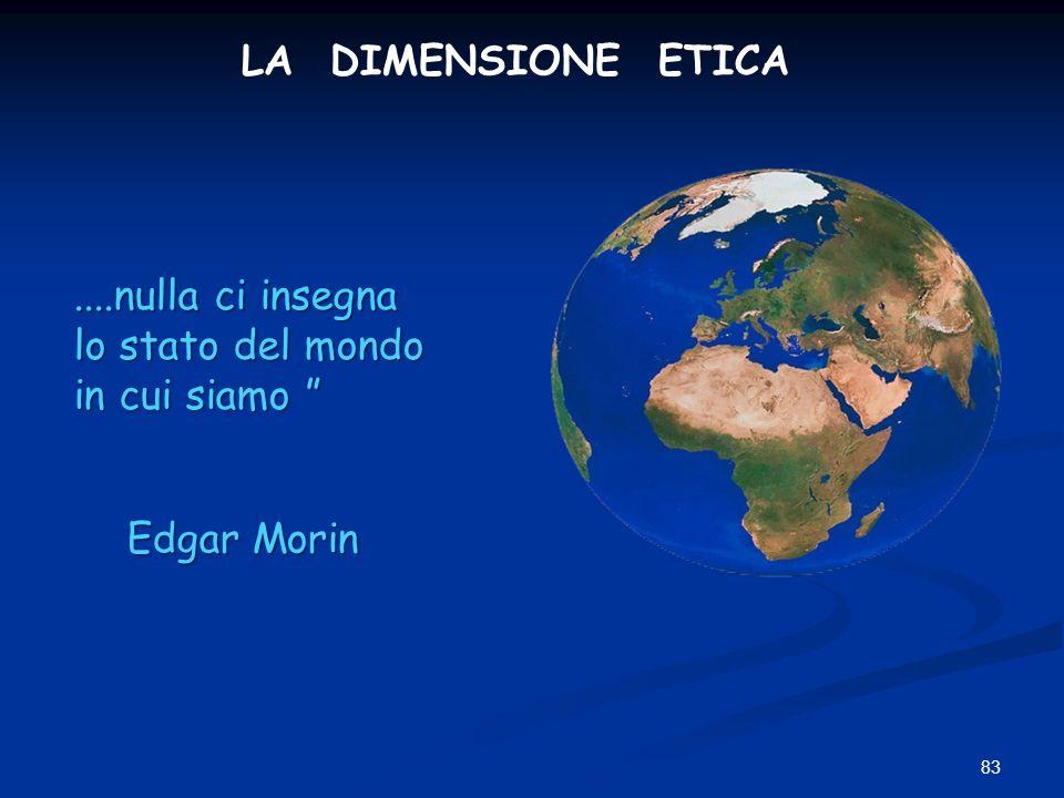 LA DIMENSIONE ETICA ....nulla ci insegna lo stato del mondo in cui siamo