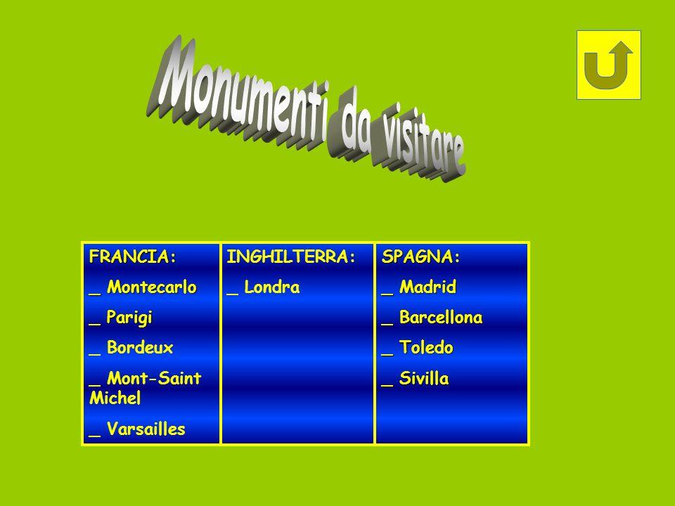 Monumenti da visitare FRANCIA: _ Montecarlo _ Parigi _ Bordeux