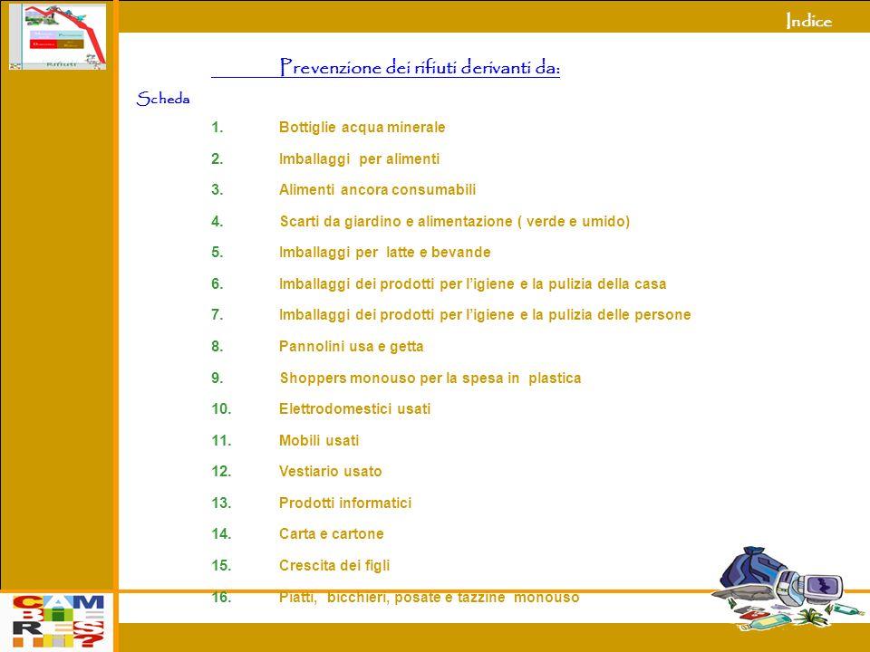 Indice 3 Prevenzione dei rifiuti derivanti da: Scheda