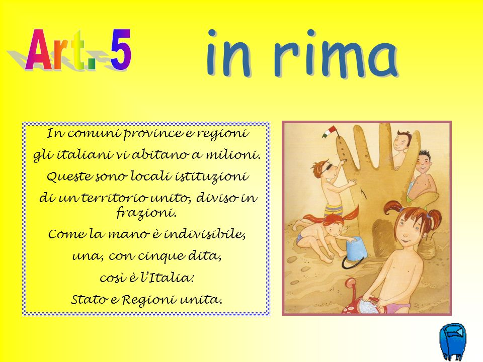 in rima Art. 5 In comuni province e regioni