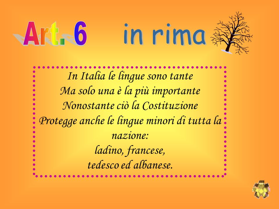 in rima Art. 6 In Italia le lingue sono tante