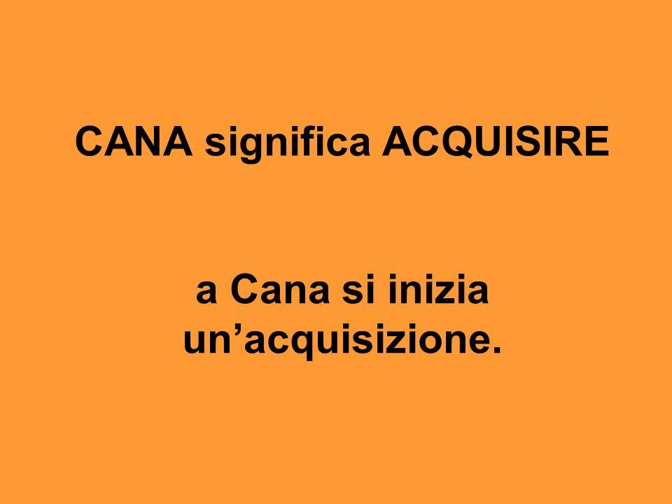 CANA significa ACQUISIRE a Cana si inizia un'acquisizione.