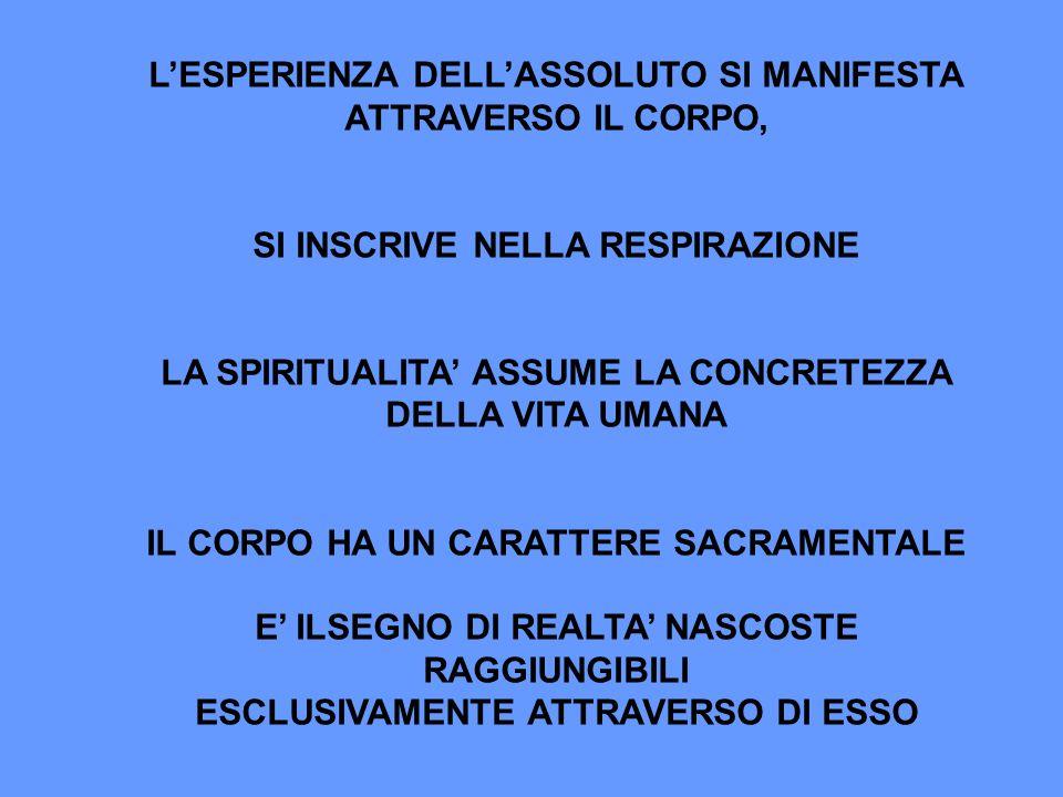 L'ESPERIENZA DELL'ASSOLUTO SI MANIFESTA ATTRAVERSO IL CORPO,