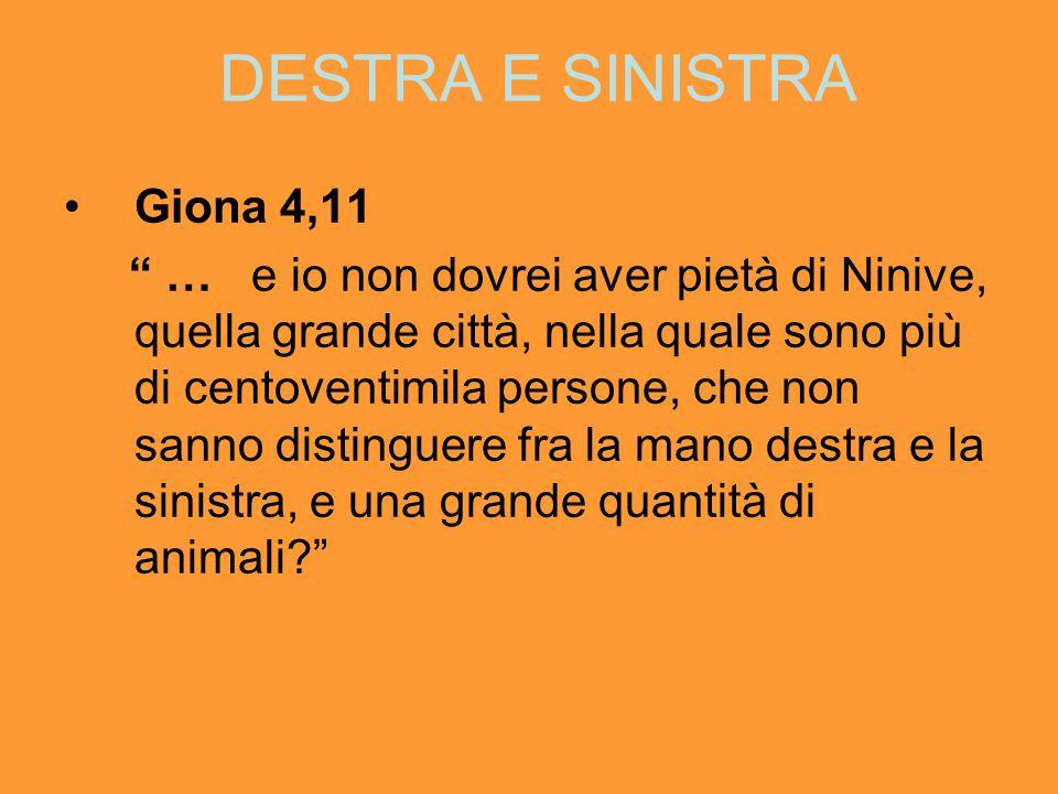 DESTRA E SINISTRA Giona 4,11