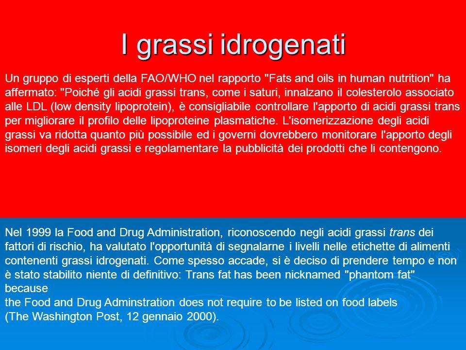 I grassi idrogenati Un gruppo di esperti della FAO/WHO nel rapporto Fats and oils in human nutrition ha.