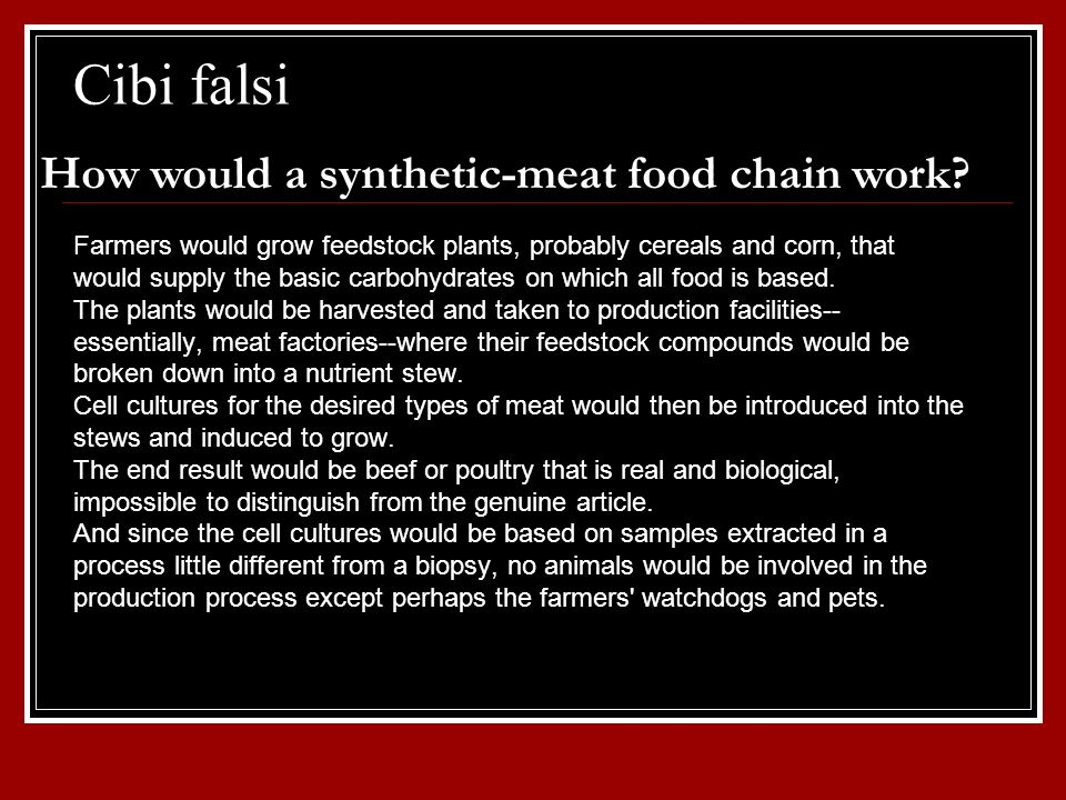 Cibi falsi How would a synthetic-meat food chain work
