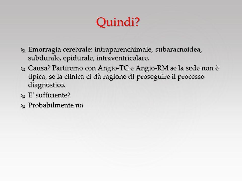 Quindi Emorragia cerebrale: intraparenchimale, subaracnoidea, subdurale, epidurale, intraventricolare.