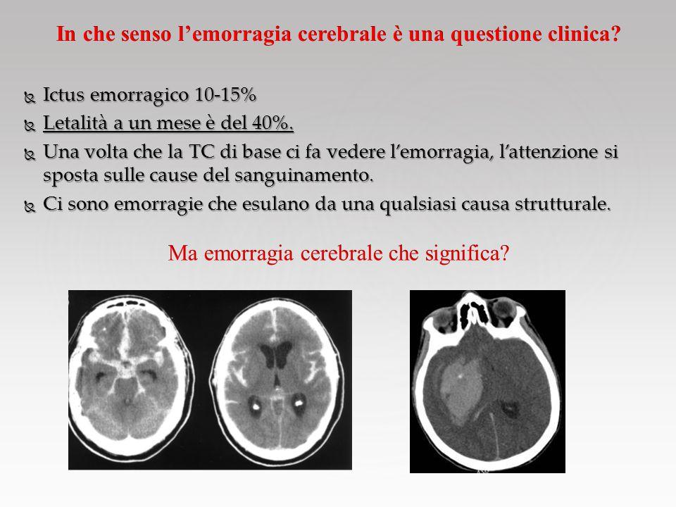 In che senso l'emorragia cerebrale è una questione clinica