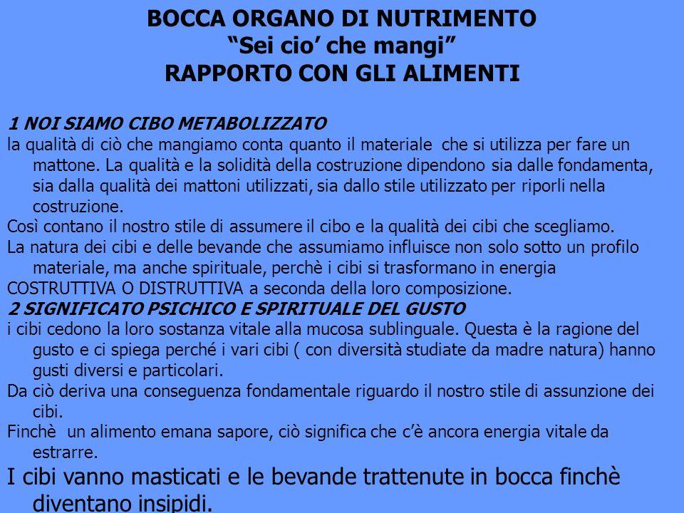 BOCCA ORGANO DI NUTRIMENTO RAPPORTO CON GLI ALIMENTI