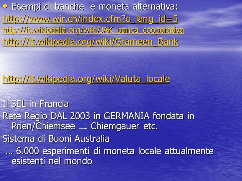Esempi di banche e moneta alternativa: