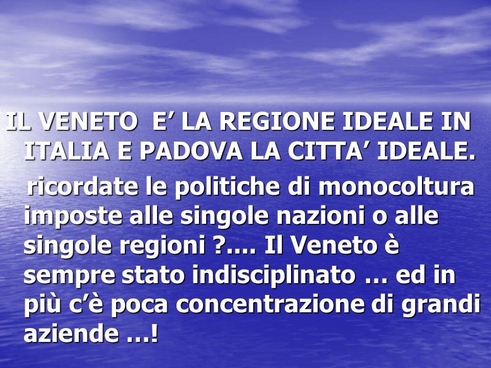 IL VENETO E' LA REGIONE IDEALE IN ITALIA E PADOVA LA CITTA' IDEALE.