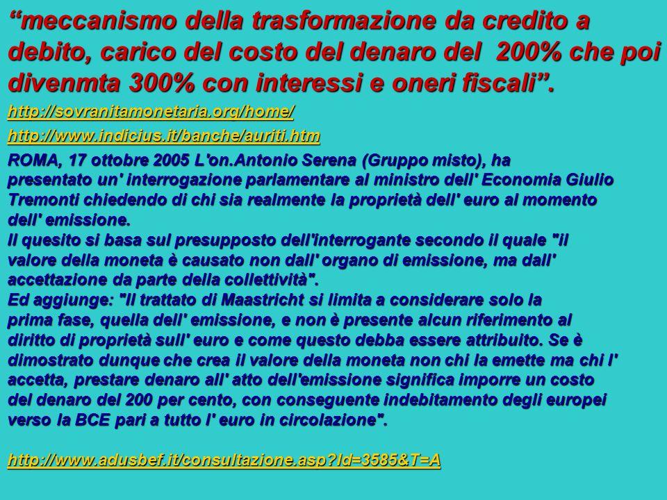meccanismo della trasformazione da credito a debito, carico del costo del denaro del 200% che poi divenmta 300% con interessi e oneri fiscali .
