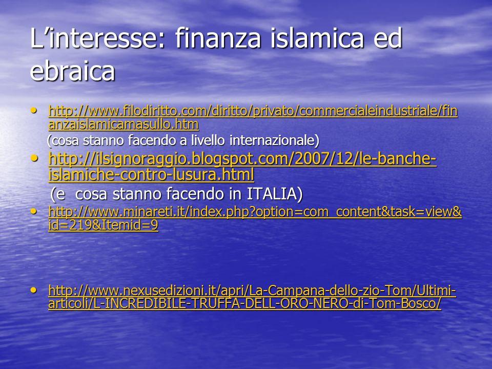 L'interesse: finanza islamica ed ebraica