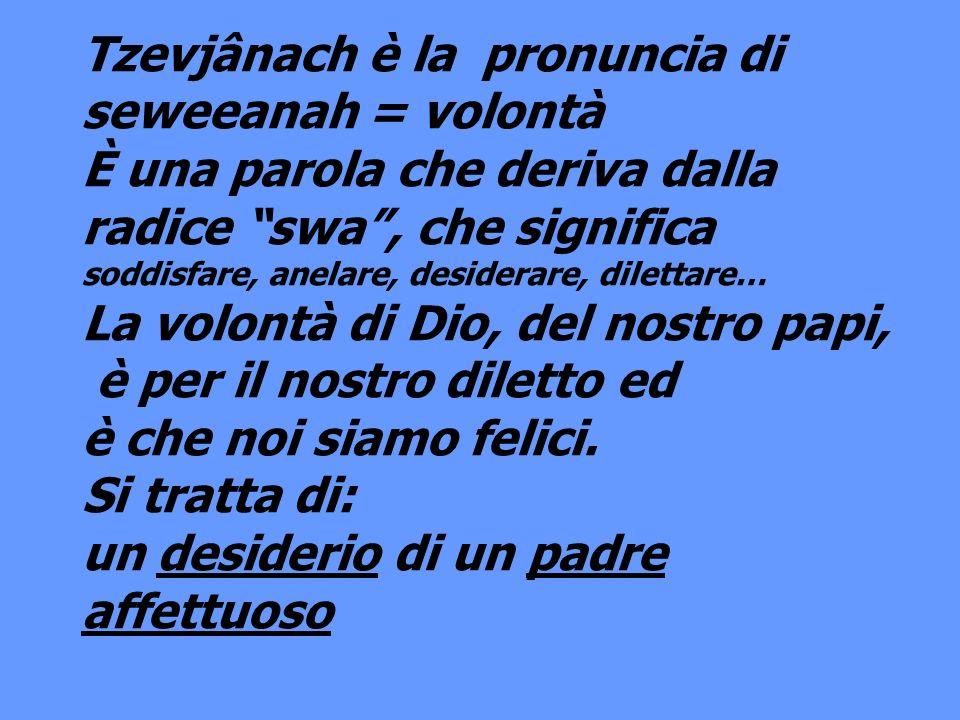 Tzevjânach è la pronuncia di seweeanah = volontà
