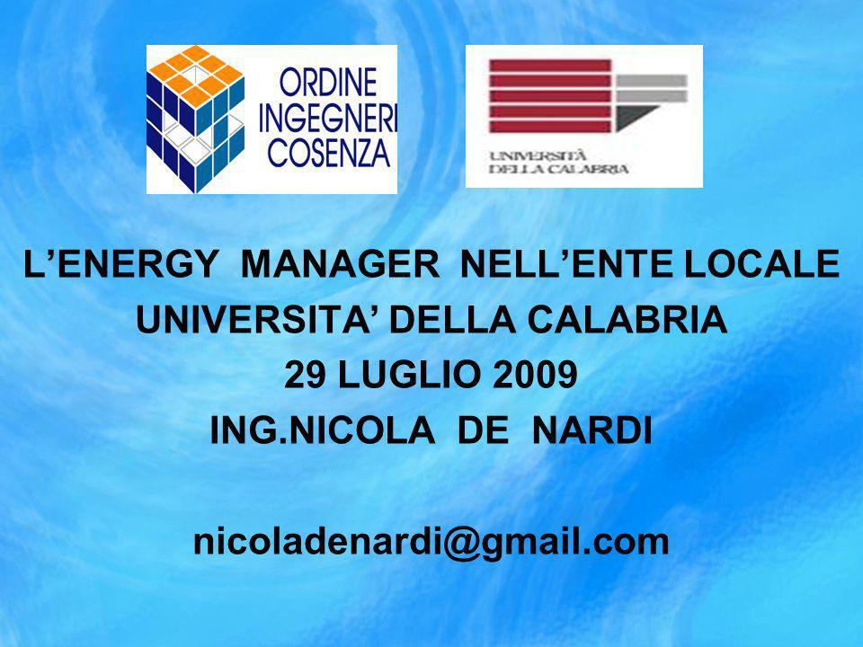 L'ENERGY MANAGER NELL'ENTE LOCALE UNIVERSITA' DELLA CALABRIA