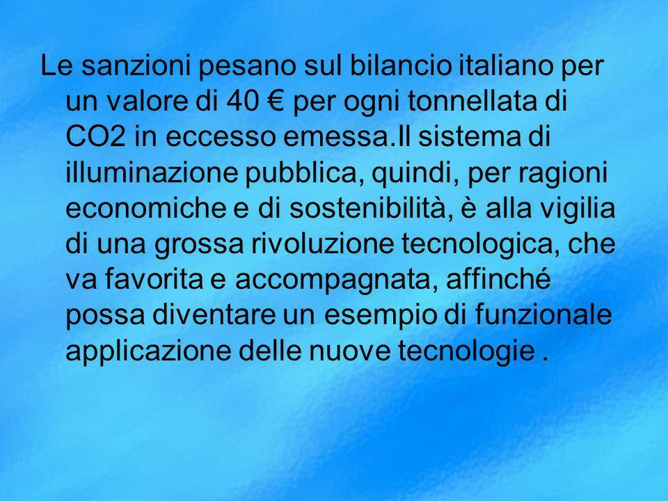Le sanzioni pesano sul bilancio italiano per un valore di 40 € per ogni tonnellata di CO2 in eccesso emessa.Il sistema di illuminazione pubblica, quindi, per ragioni economiche e di sostenibilità, è alla vigilia di una grossa rivoluzione tecnologica, che va favorita e accompagnata, affinché possa diventare un esempio di funzionale applicazione delle nuove tecnologie .