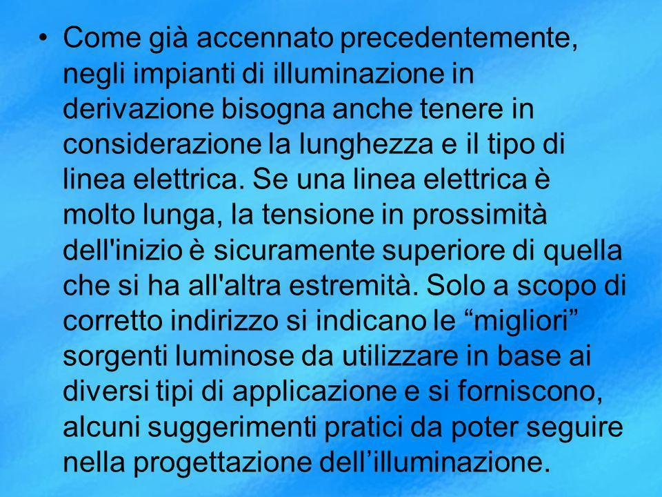 Come già accennato precedentemente, negli impianti di illuminazione in derivazione bisogna anche tenere in considerazione la lunghezza e il tipo di linea elettrica.