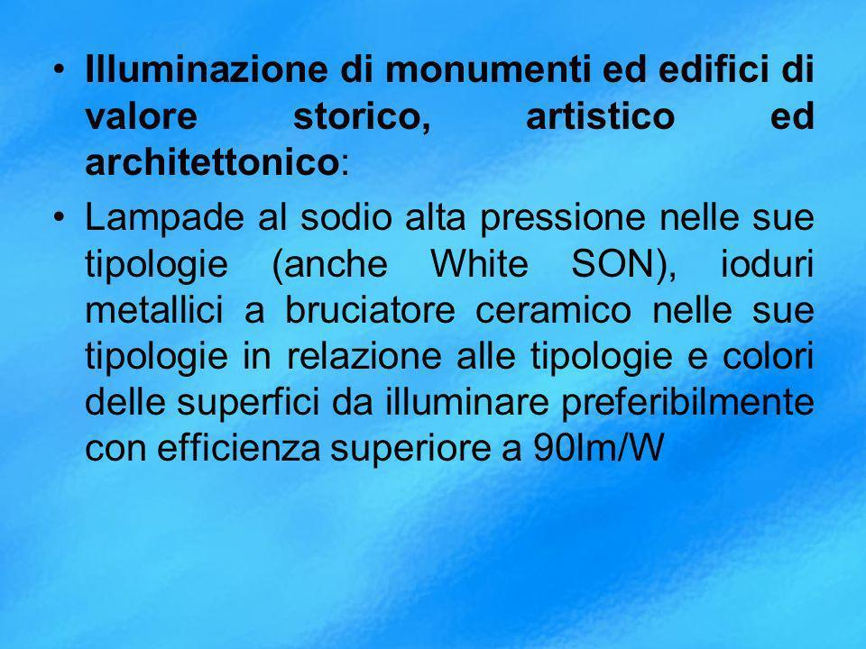 Illuminazione di monumenti ed edifici di valore storico, artistico ed architettonico: