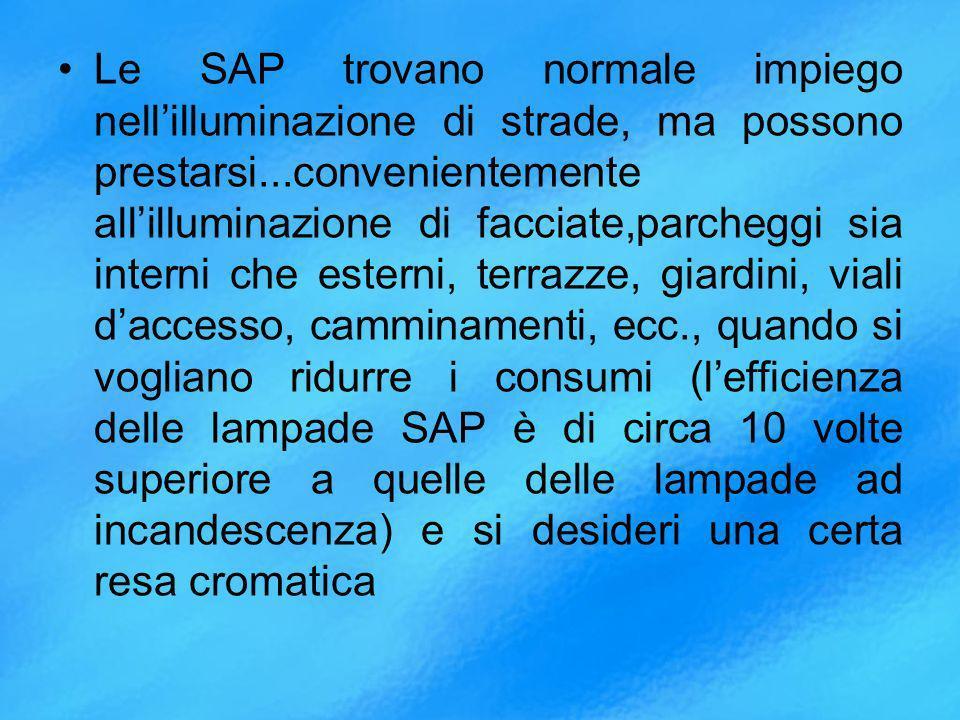 Le SAP trovano normale impiego nell'illuminazione di strade, ma possono prestarsi...convenientemente all'illuminazione di facciate,parcheggi sia interni che esterni, terrazze, giardini, viali d'accesso, camminamenti, ecc., quando si vogliano ridurre i consumi (l'efficienza delle lampade SAP è di circa 10 volte superiore a quelle delle lampade ad incandescenza) e si desideri una certa resa cromatica
