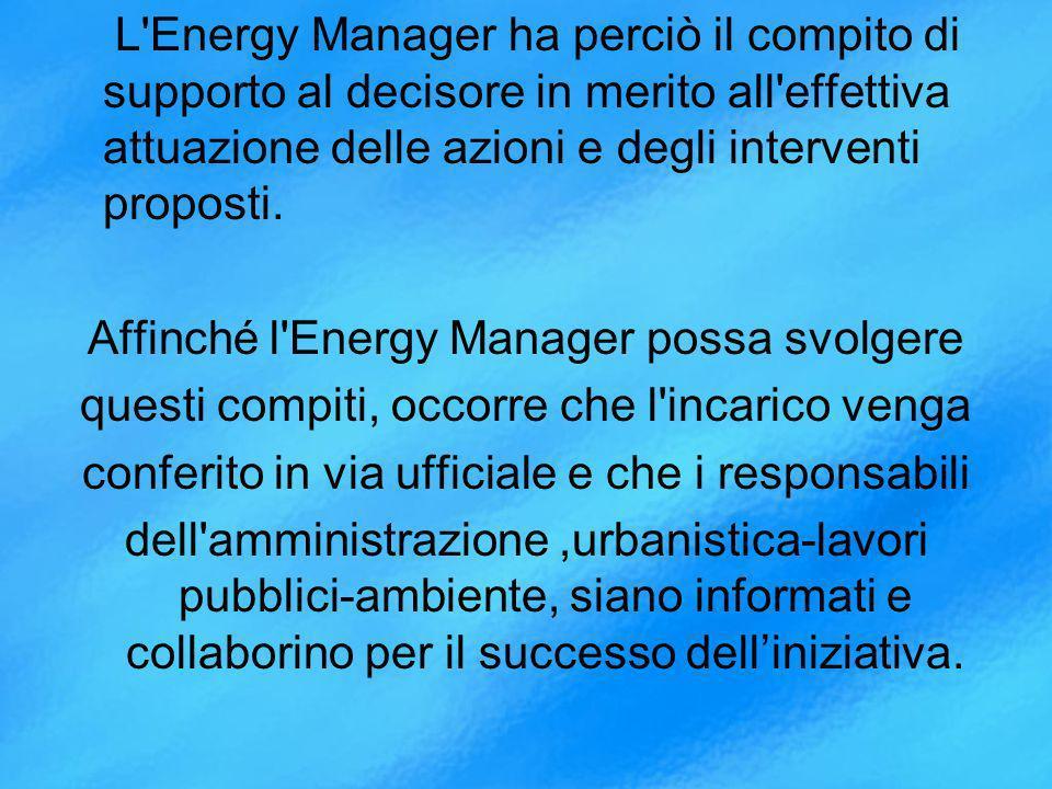 Affinché l Energy Manager possa svolgere