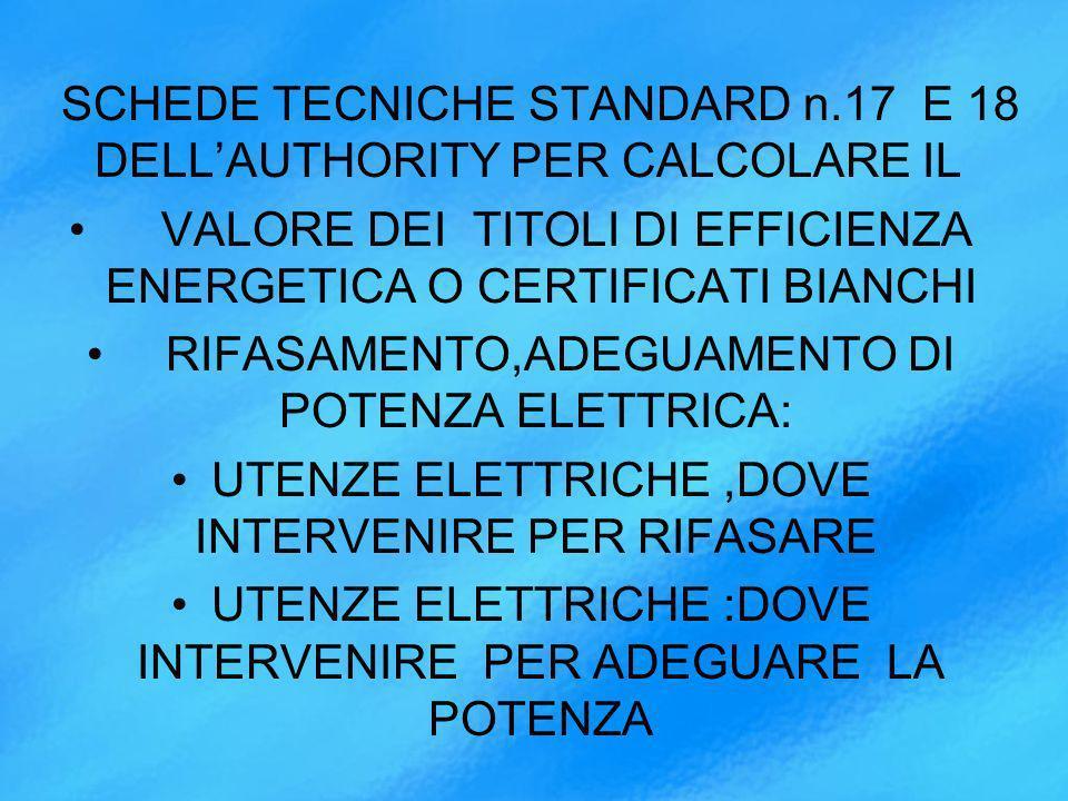 SCHEDE TECNICHE STANDARD n.17 E 18 DELL'AUTHORITY PER CALCOLARE IL