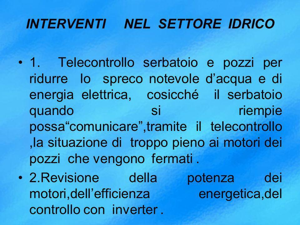 INTERVENTI NEL SETTORE IDRICO