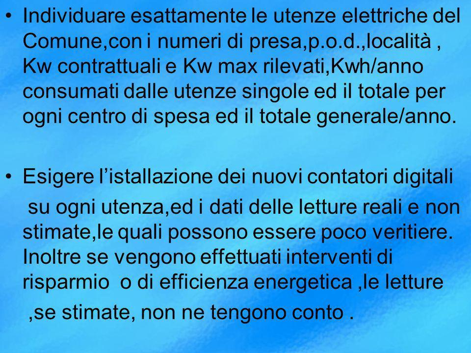 Individuare esattamente le utenze elettriche del Comune,con i numeri di presa,p.o.d.,località , Kw contrattuali e Kw max rilevati,Kwh/anno consumati dalle utenze singole ed il totale per ogni centro di spesa ed il totale generale/anno.