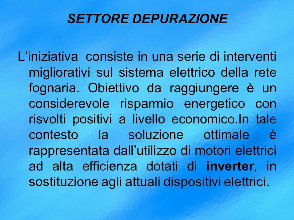 SETTORE DEPURAZIONE L'iniziativa consiste in una serie di interventi migliorativi sul sistema elettrico della rete fognaria.