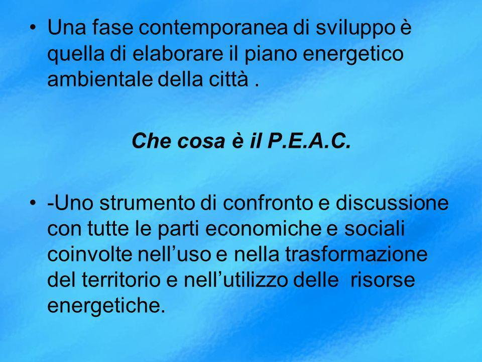 Una fase contemporanea di sviluppo è quella di elaborare il piano energetico ambientale della città .