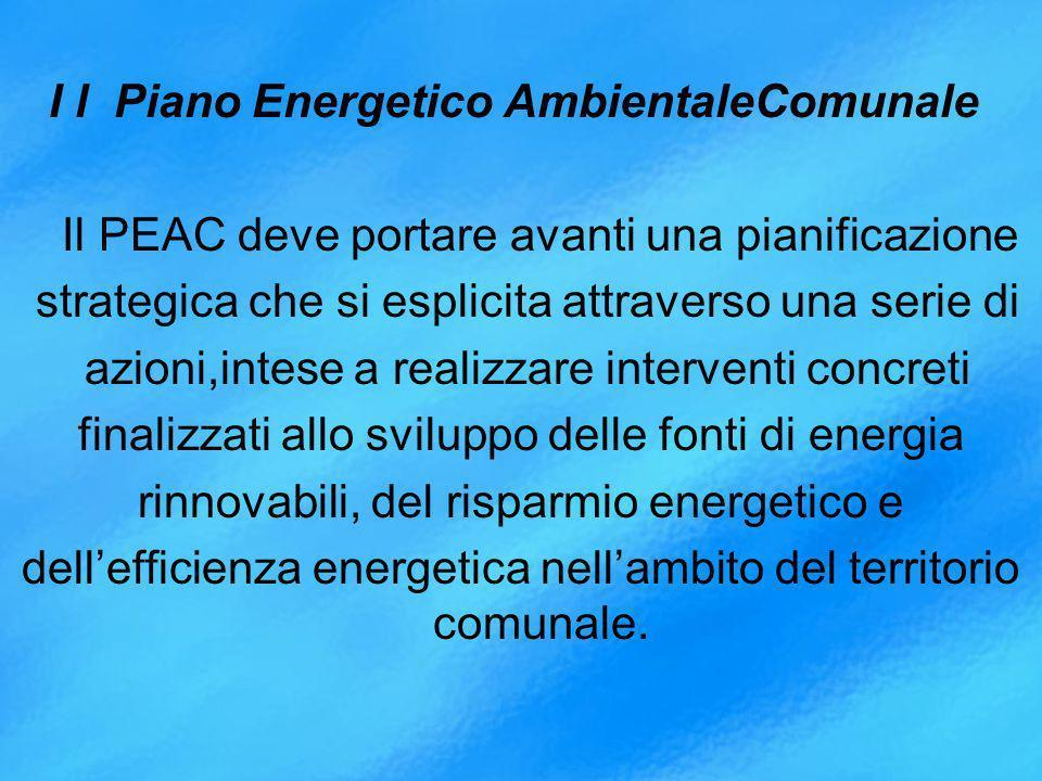 I l Piano Energetico AmbientaleComunale Il PEAC deve portare avanti una pianificazione strategica che si esplicita attraverso una serie di azioni,intese a realizzare interventi concreti finalizzati allo sviluppo delle fonti di energia rinnovabili, del risparmio energetico e dell'efficienza energetica nell'ambito del territorio comunale.