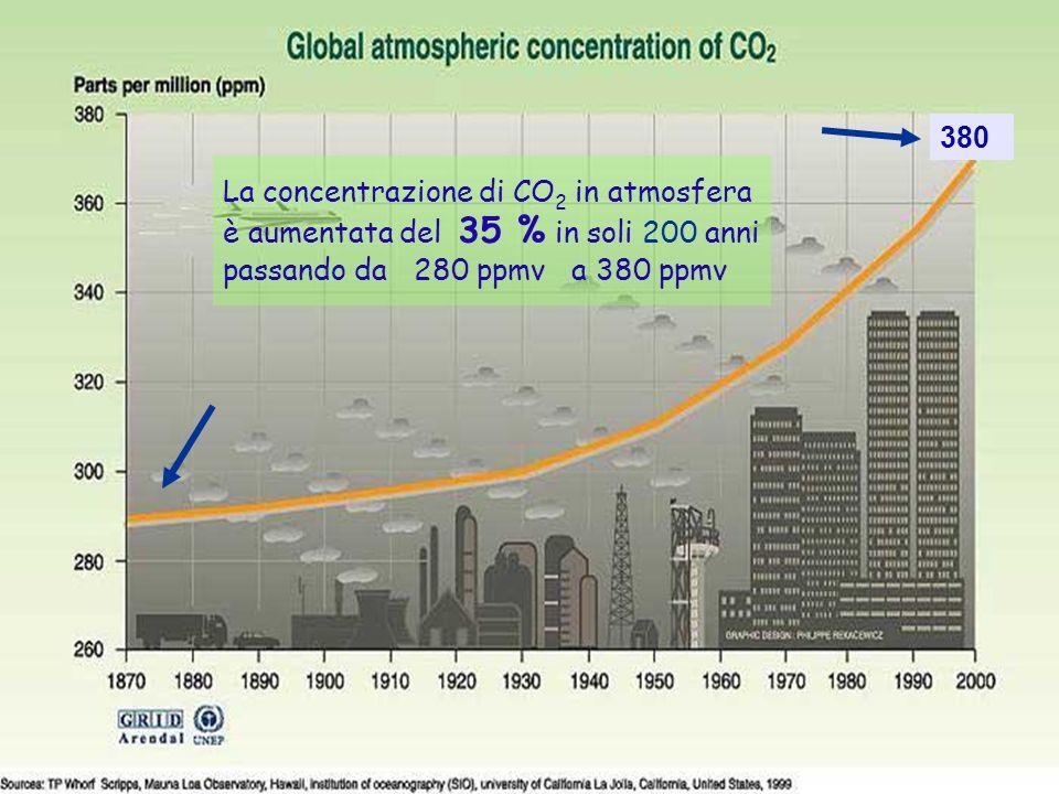 Grafico aumento concentrazione CO2
