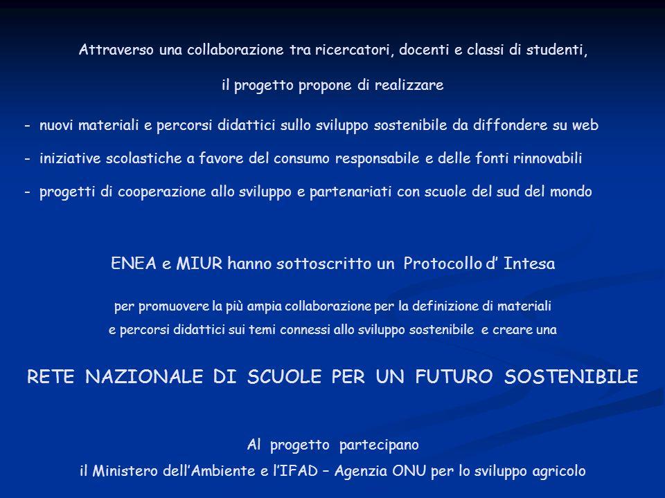 RETE NAZIONALE DI SCUOLE PER UN FUTURO SOSTENIBILE