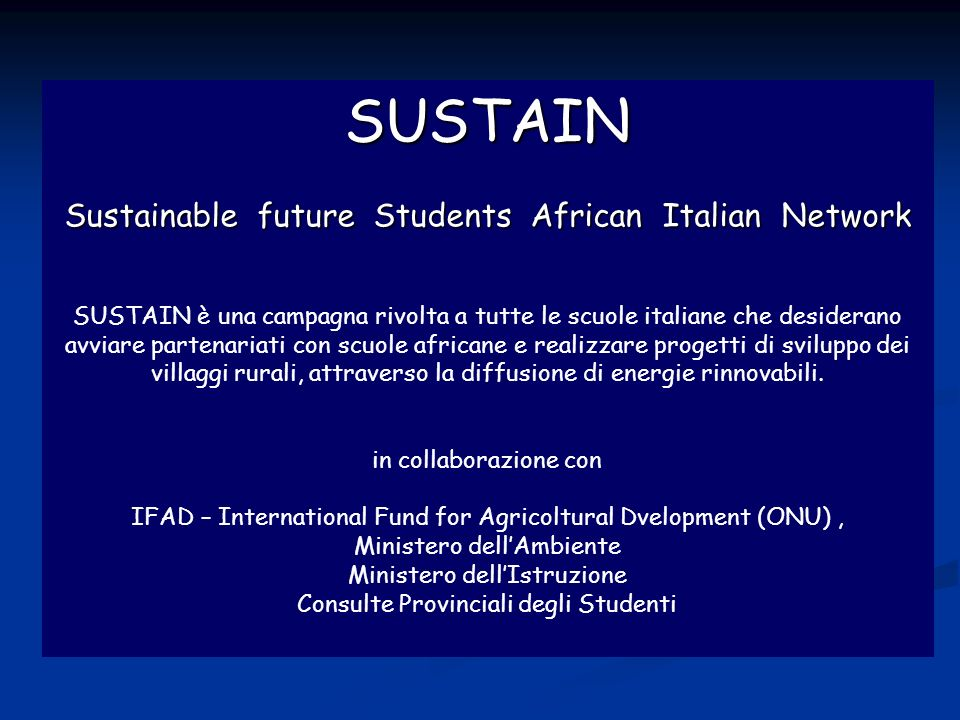 SUSTAIN Sustain Sustainable future Students African Italian Network