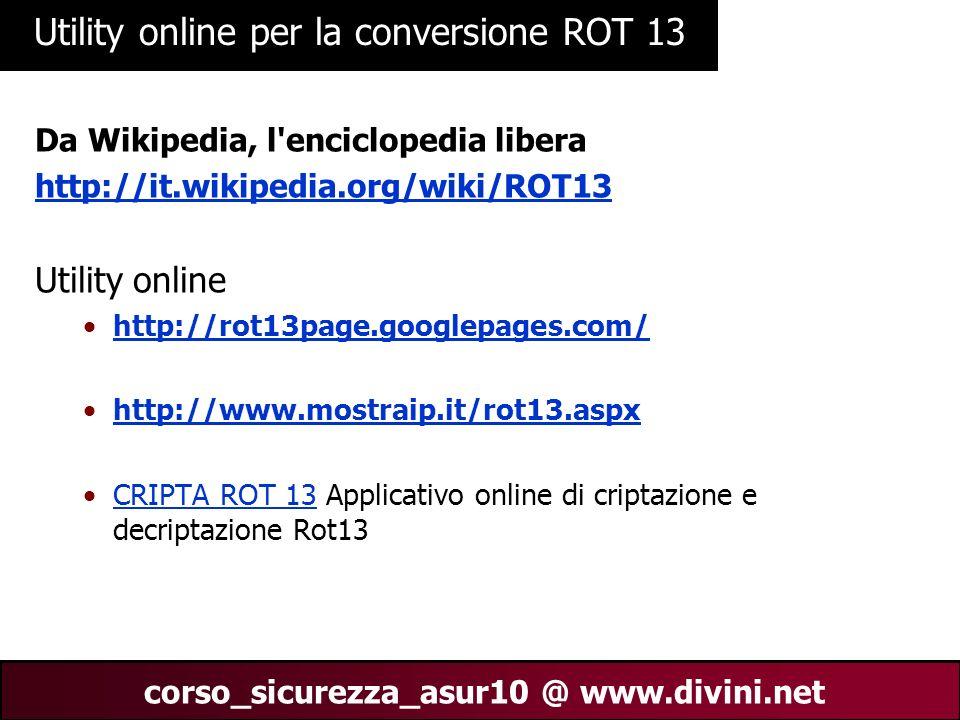 Utility online per la conversione ROT 13