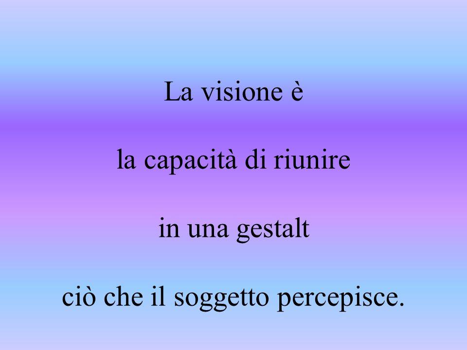 La visione è la capacità di riunire in una gestalt ciò che il soggetto percepisce.