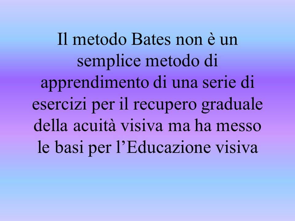 Il metodo Bates non è un semplice metodo di apprendimento di una serie di esercizi per il recupero graduale della acuità visiva ma ha messo le basi per l'Educazione visiva