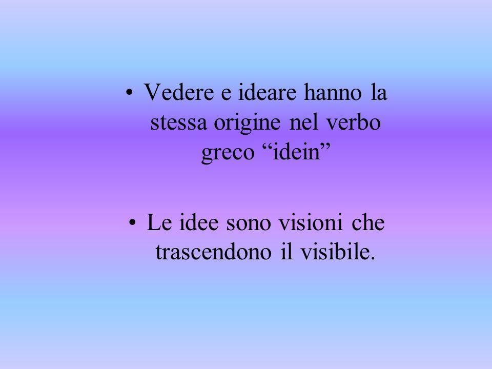 Vedere e ideare hanno la stessa origine nel verbo greco idein