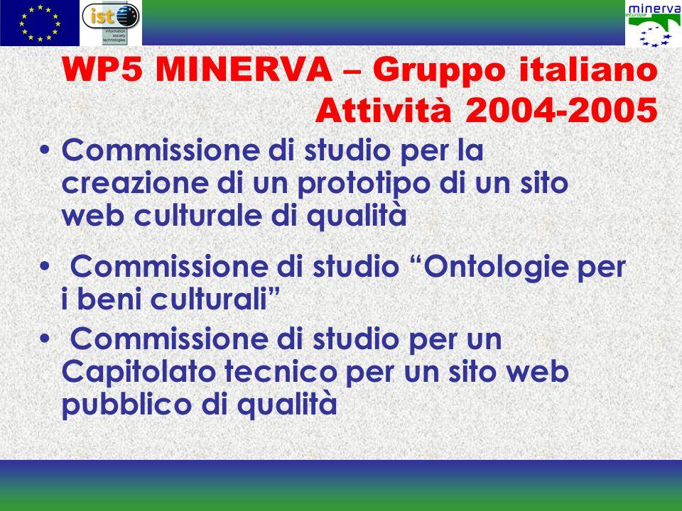 WP5 MINERVA – Gruppo italiano Attività 2004-2005