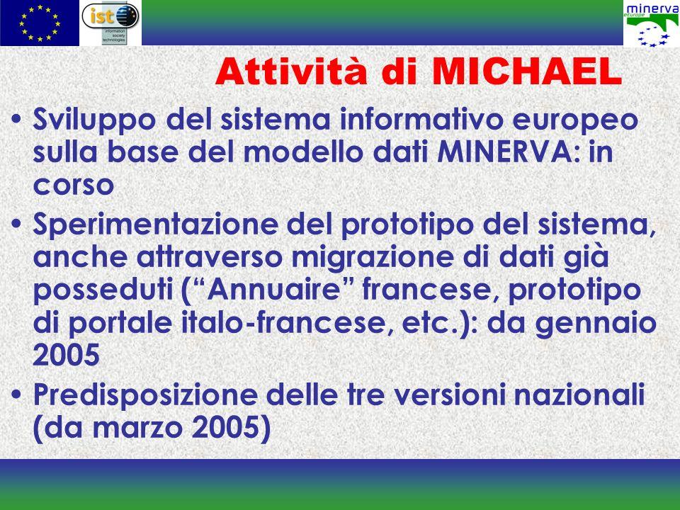 Attività di MICHAEL Sviluppo del sistema informativo europeo sulla base del modello dati MINERVA: in corso.