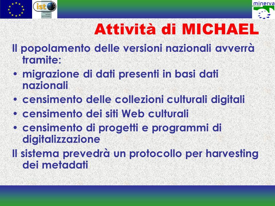 Attività di MICHAEL Il popolamento delle versioni nazionali avverrà tramite: migrazione di dati presenti in basi dati nazionali.